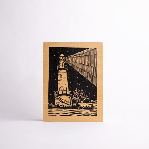 MariaMulder - Beacon linocut on wood panel