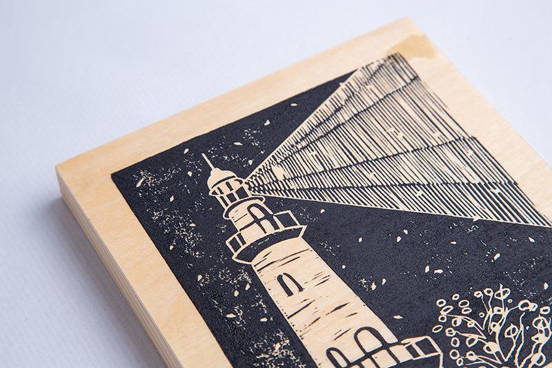 MariaMulder - Beacon linocut on wood panel 0 detail view