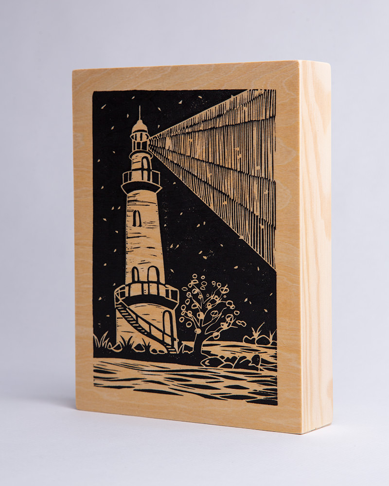 MariaMulder - Beacon linocut on thick wood panel