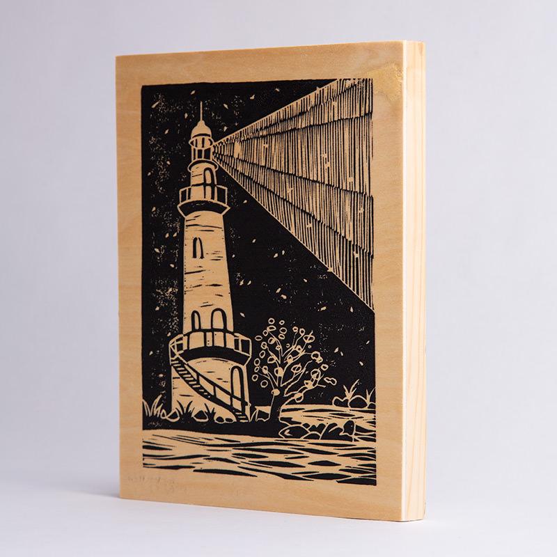 MariaMulder - Beacon linocut on wood panel (thin panel)