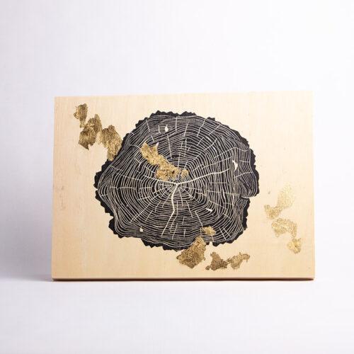 Maria Mulder Crosscut 1 linocut on wood panel