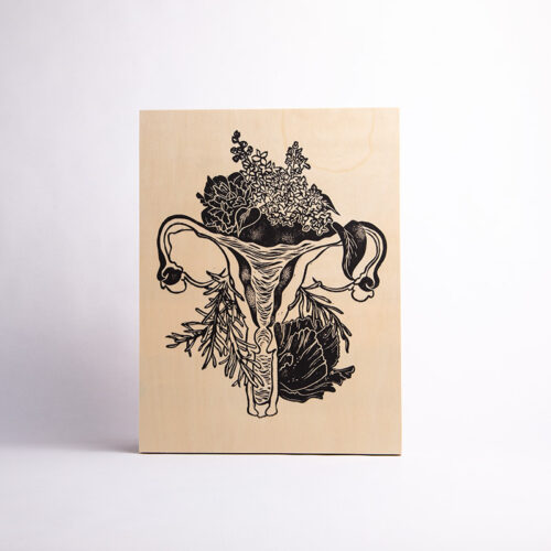 Maria Mulder's Floral Uterus linocut on wood panel