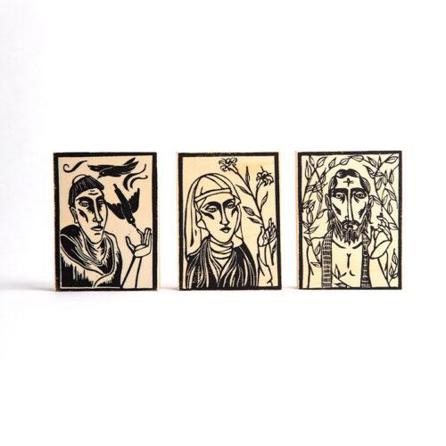 Trio of Saints linocut on wood panel