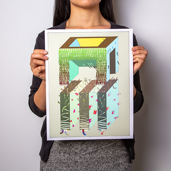 Sunny Nestler's Impossible Landscape print held by a person against a white background