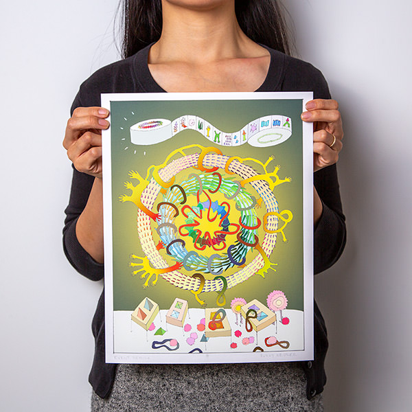 Person holding Sunny Nestler's Event Nebula print against a white backdrop